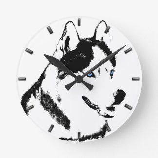 Husky Clock Gifts Decor Sled Dog Wall Clock
