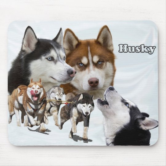 husky collage mouse mat