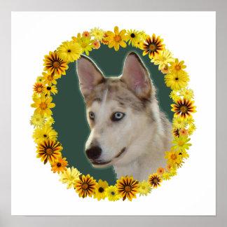 Husky Dog Circle of Flowers Print