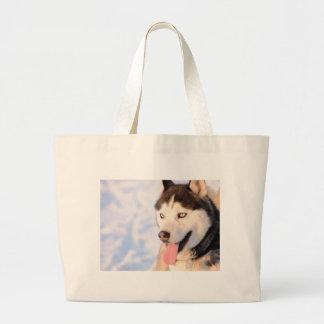 Husky dog large tote bag