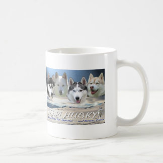 husky dog sleding coffee mug