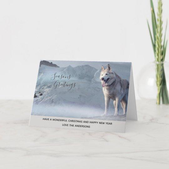 b6994e664d6 Husky Dog Winter Snow Xmas Photo Personalised Holiday Card