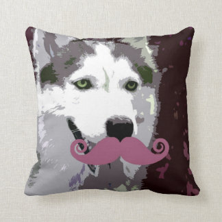 Husky Dog with Funny Mustache Cushion