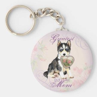 Husky Heart Mom Basic Round Button Key Ring
