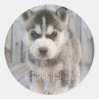 Husky Hugs Classic Round Sticker