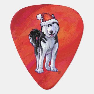 Husky in Santa Hat On Red Plectrum