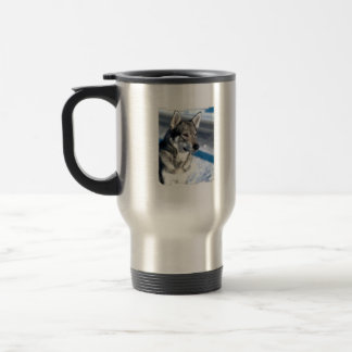 Husky in Snow Travel Mug