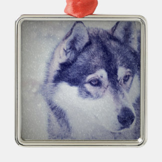 Husky in the snow Silver-Colored square decoration