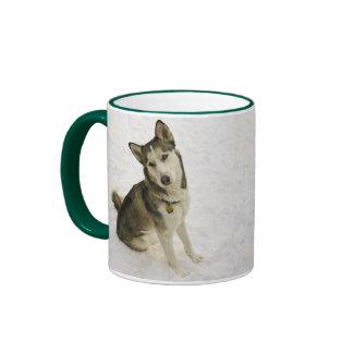 Husky Pose Ringer Coffee Mug