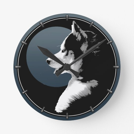 Husky Pup Clock Gifts Decor Sled Dog Wall