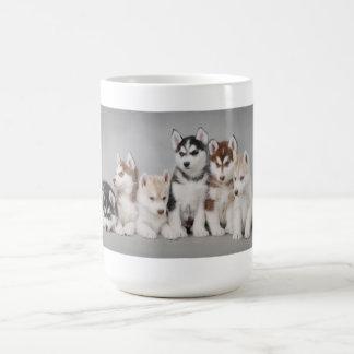 Husky puppies basic white mug