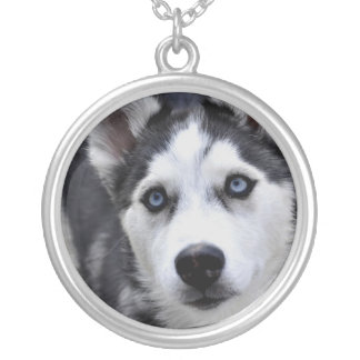 Husky Puppy Silver Necklace