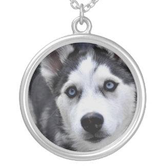 Husky Puppy Silver Necklace