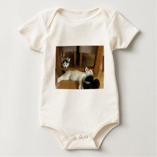 Husky pups baby bodysuit