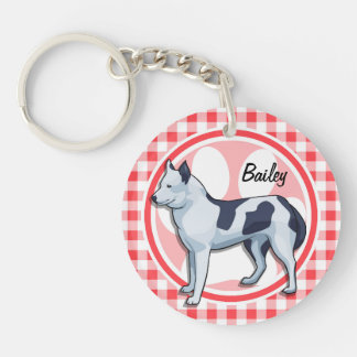 Husky; Red and White Gingham Acrylic Keychain