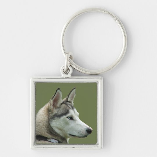 Husky Siberian dog beautiful photo keychain, gift Silver-Colored