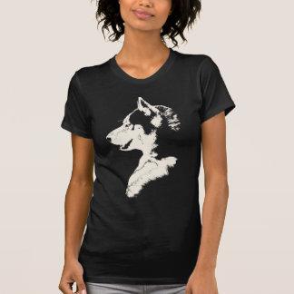 Husky T-Shirt Womens Husky Wolf Art Tee Shirts