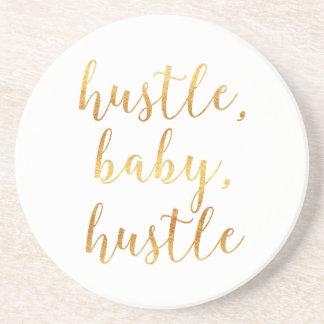 Hustle, Baby, Hustle Cursive Gold Coaster