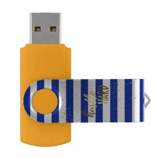 Hustle Hard Gold Foil Effect USB Drive Swivel USB 2.0 Flash Drive
