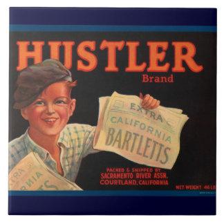 Hustler Vintage Crate Label Large Square Tile