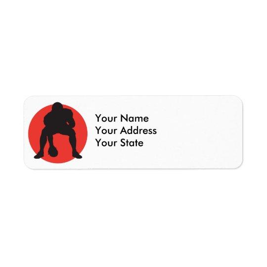 hut hut quarterback football silhouette design return address label