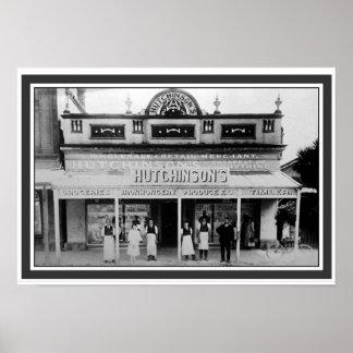 Hutchinson's Mercantile Vintage B&W Poster 13 x 19