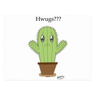 """""""Hwugs???"""" Cactus Postcard"""
