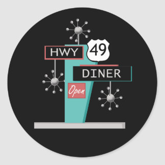 HWY 49 Diner Classic Round Sticker