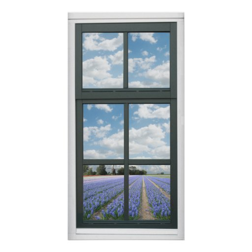 Hyacinth Flowers Spring Faux Window View Poster