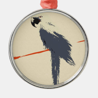 Hyacinth Macaw Alt Art Silver-Colored Round Decoration