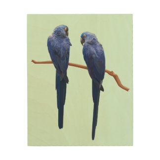 Hyacinth Macaw Duo Wooden Wall Art Wood Canvases