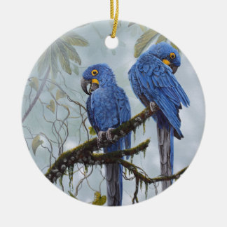 Hyacinth Macaw just for your special gifts Round Ceramic Decoration