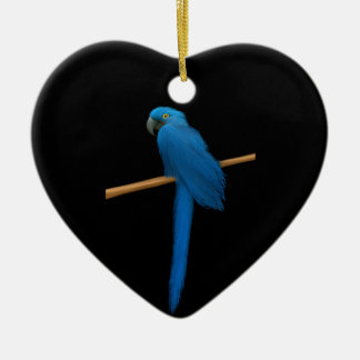Hyacinth Macaw Parrot Ceramic Heart Decoration