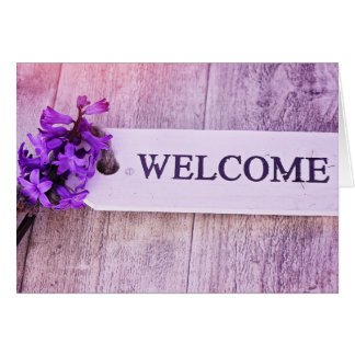 Hyacinth Purple Wood Sign Spring Floral Welcome Greeting Card