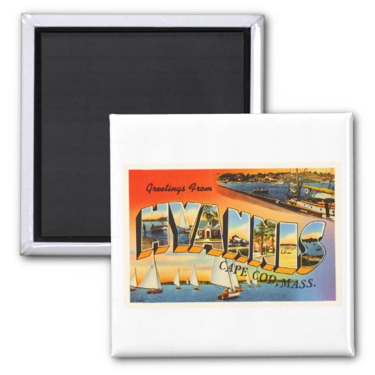Hyannis Cape Cod Massachusetts MA Travel Souvenir Square Magnet