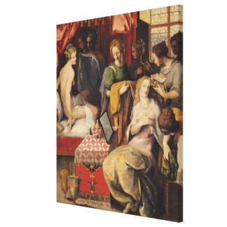 Hyante and Climene at their Toilet Stretched Canvas Print