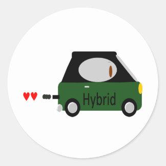 Hybrid Car Round Sticker
