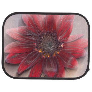 Hybrid sunflower blowing in the wind car mat