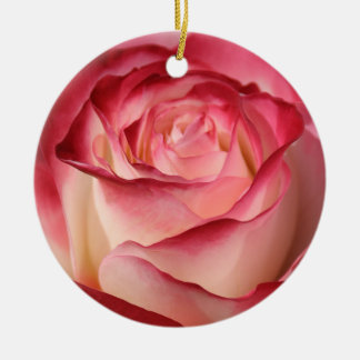 Hybrid Tea Rose Double-Sided Ceramic Round Christmas Ornament