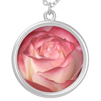 Hybrid Tea Rose Round Pendant Necklace