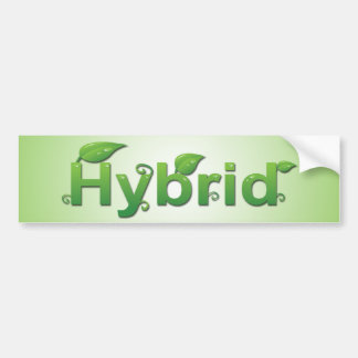 """Hybrid"" with Leaves Bumper Sticker"