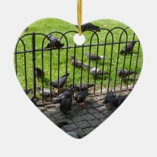Hyde Park Pigeons Ceramic Heart Decoration