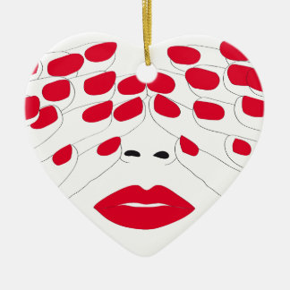 Hyde & seek - red nails girl christmas ornament