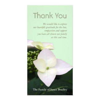 Hydrangea 2 Custom Sympathy Thank You Photo Card