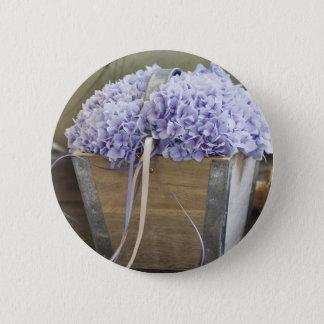hydrangea 6 cm round badge