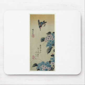 Hydrangea and Kingfisher by Hiroshige Mouse Pad