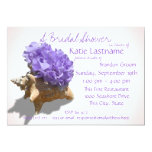 Hydrangea and Seashell Bridal Shower Lavender Custom Announcement