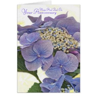 Hydrangea blauw, Mum And Dad On, Your Anniversary Greeting Card
