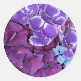 Hydrangea Blossoms Round Sticker