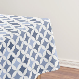 Hydrangea Blue Geometric Hypocycloid Pattern Tablecloth